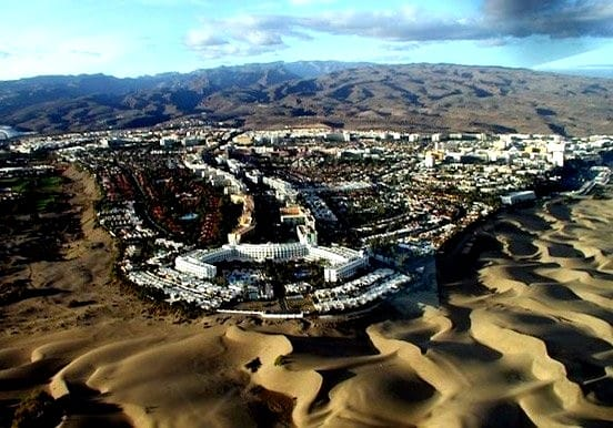 Helicopter view of Gran Canaria sand dunes