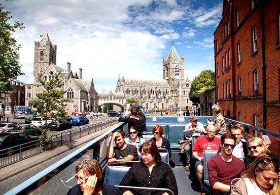 Open-top tour bus in Dublin