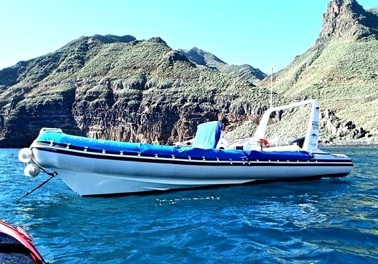 Diving water taxi boat in Anaga Tenerife