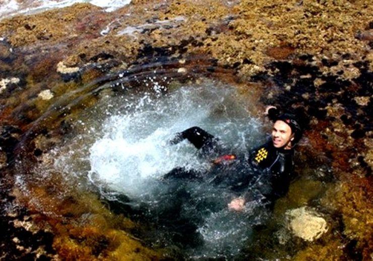 Relaxing in water after coasteering Gran Canaria