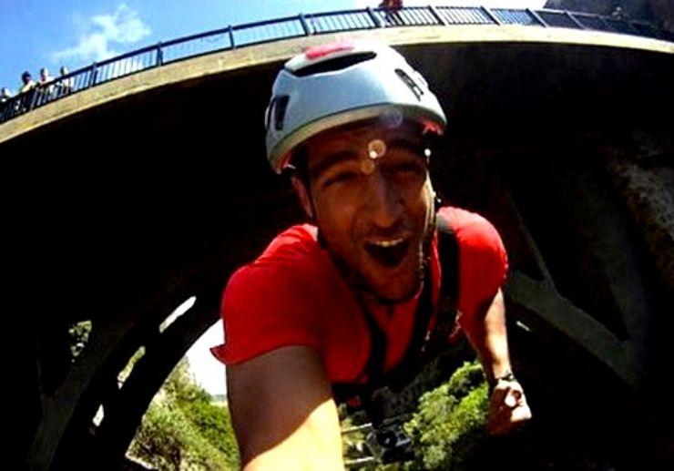 bridge bungee jumping selfie in Gran Canaria