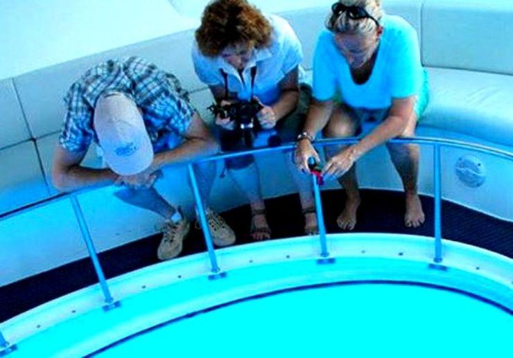 La Palma Glass bottom viewing boat inside Fantasy