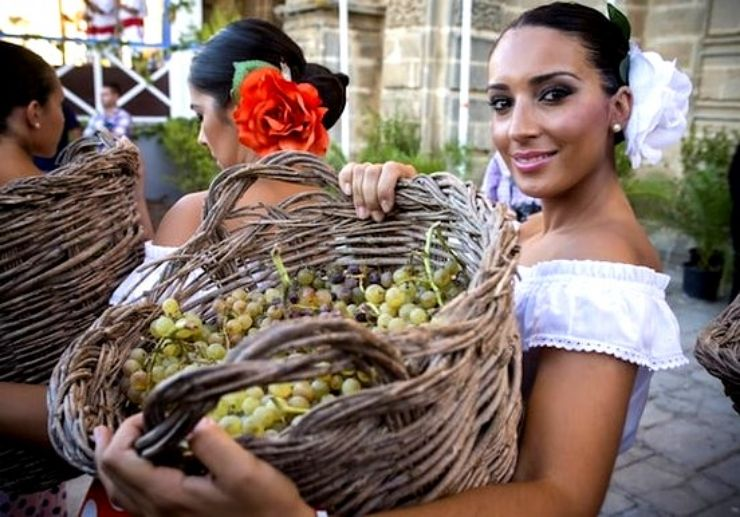 Jerez woman with basket of grapes