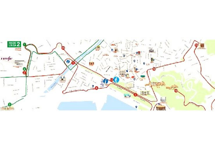 Malaga City hop on hop off tour route map