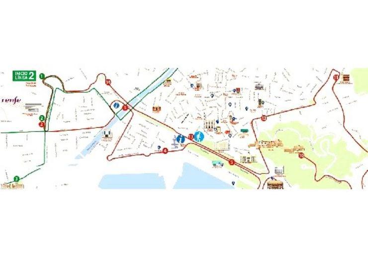 Malaga City hop on hop off tour route map