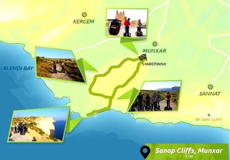 Sanap cliff Munxar Segway tour route map