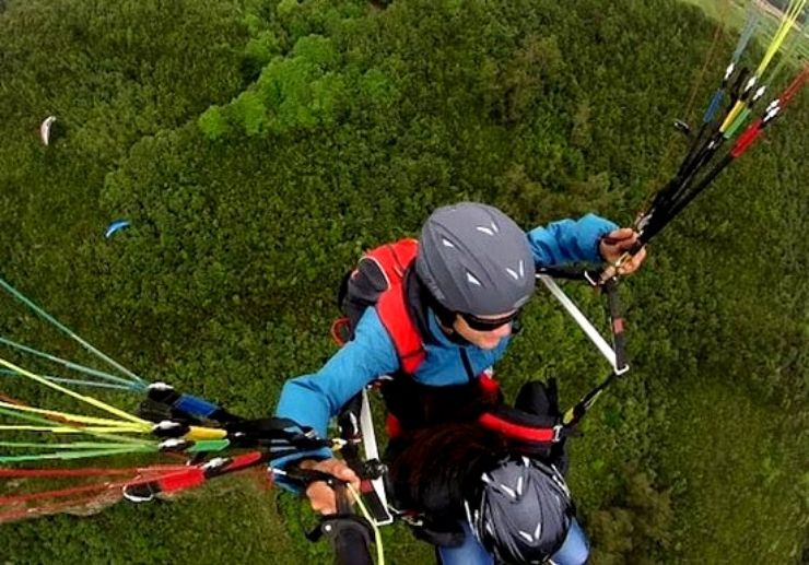 Paragliding over Tenerife greeneries