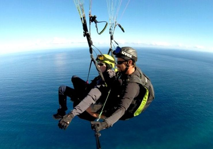 Paragliding over Tenerife coastline