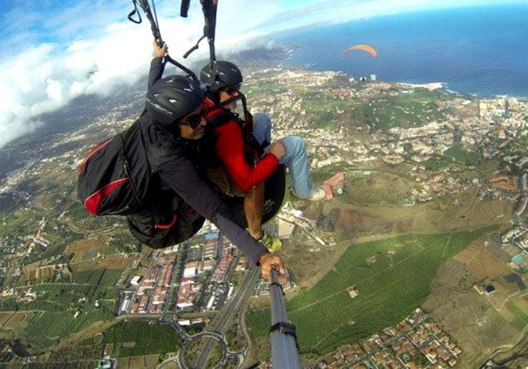 Paraglide over Tenerife villages and coast