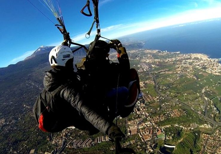 Enjoy Tenerife coastal view on a paraglide