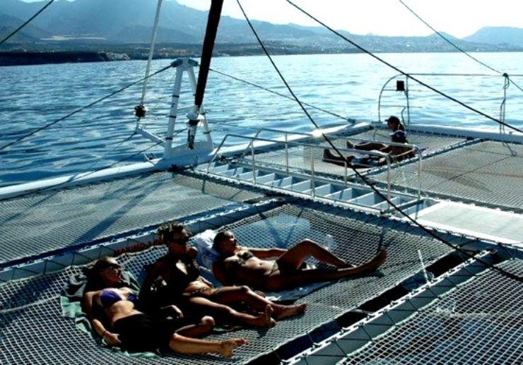 Flying bridge at Freebird One catamaran sail