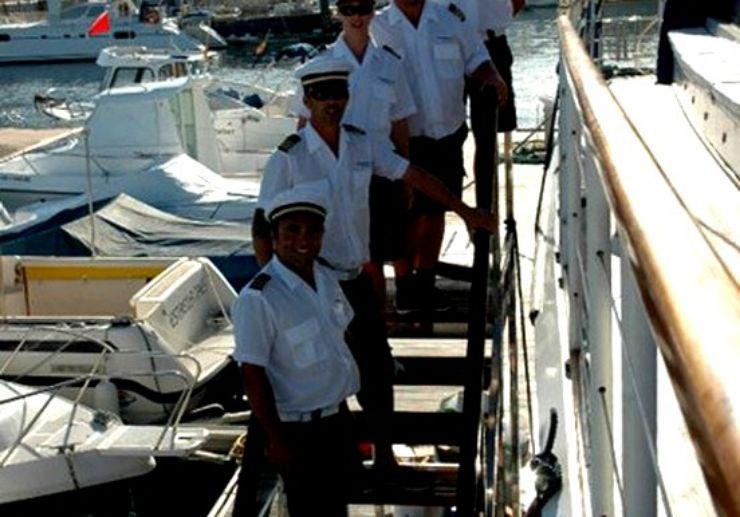 The sailing crew of Freebird catamaran