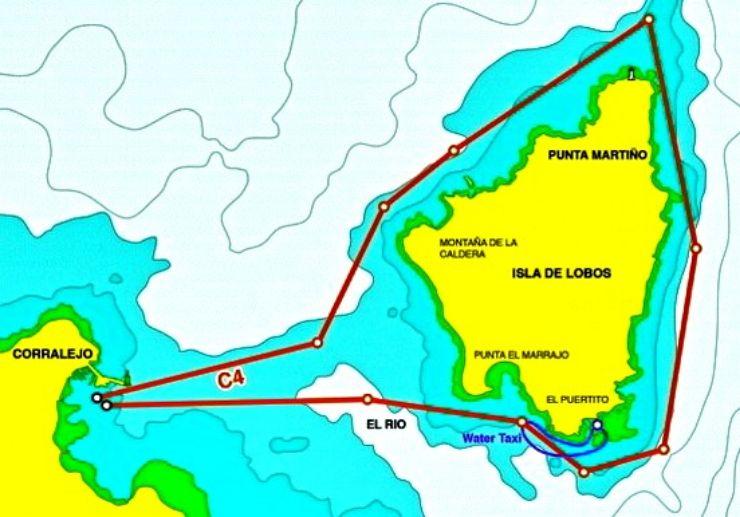 Catamaran sailing around Lobos Island route