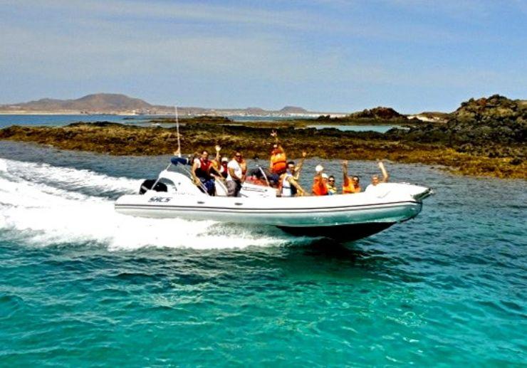 Catamaran sailing around Lobos Island