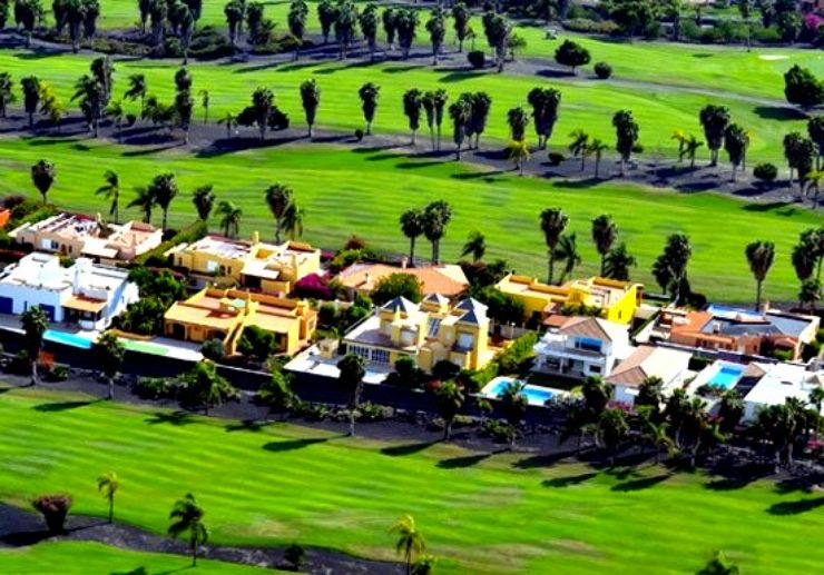Tenerife golf course view from helicopter
