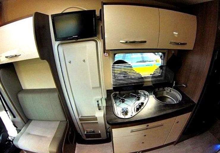 Madeira caravan kitchen