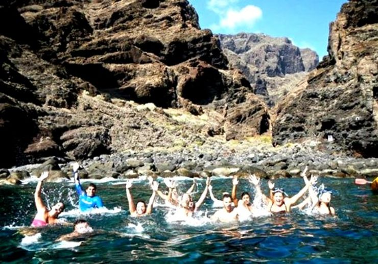 Swimming break kayak tour in Tenerife