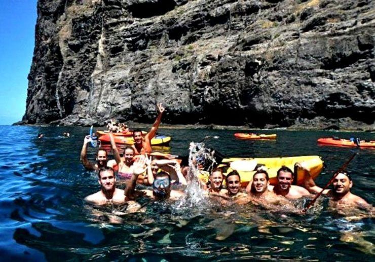 Swim and snorkel kayaking in Los Gigantes