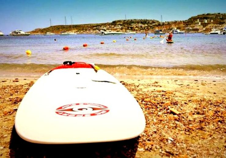 Stand up paddle around Mellieha bay coastline