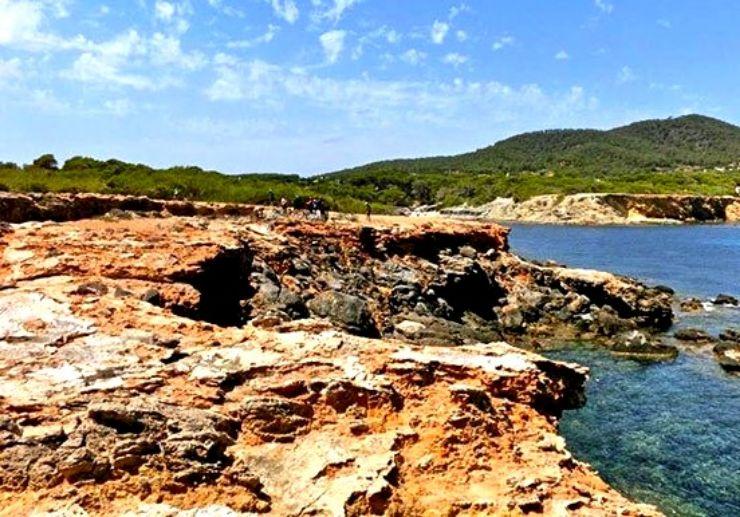 Mountain bike along beautiful coast of Ibiza