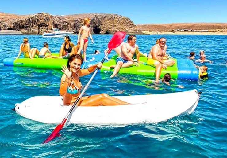 Catamaran sailing Papagayo bay with kayak fun