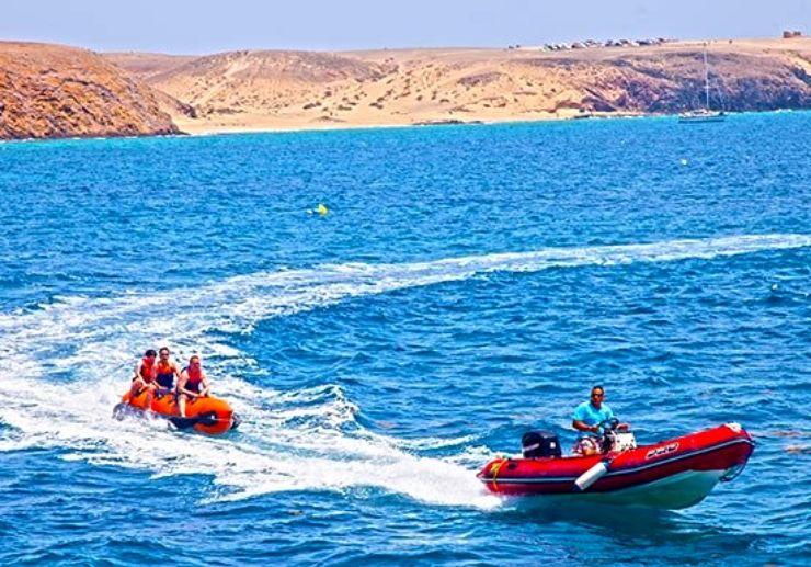 Sailing with banana boat in Lanzarote