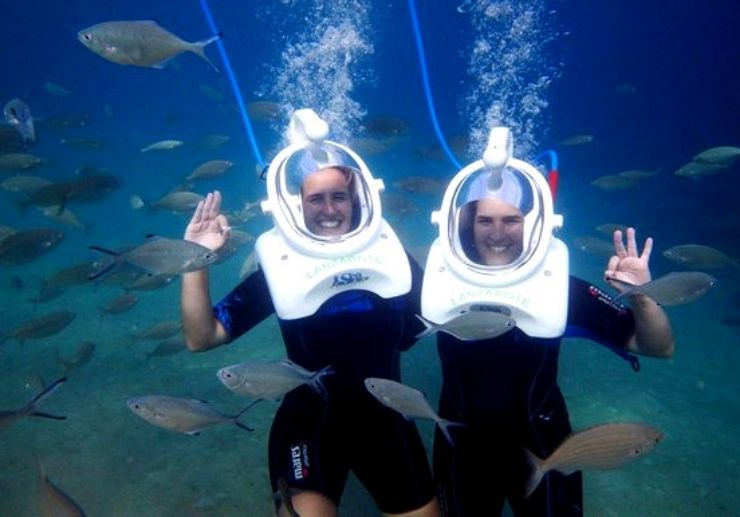 Sea trek walk underwater Lanzarote