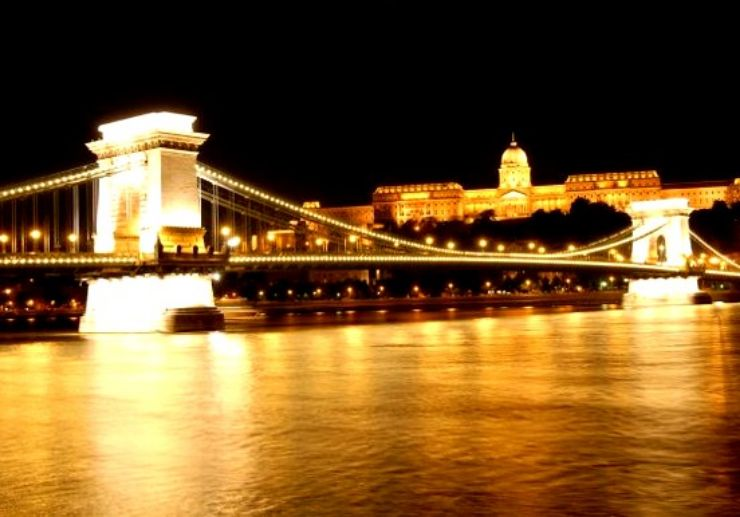 Chain bridge of Budapest at night time on cruise