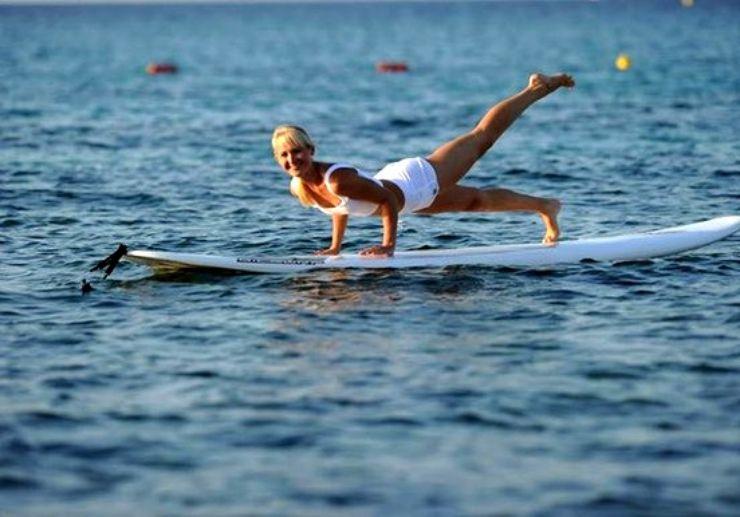 SUP yoga at Mellieha bay Malta