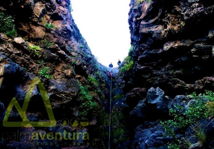 Canyoning through the rock formations in La Palma