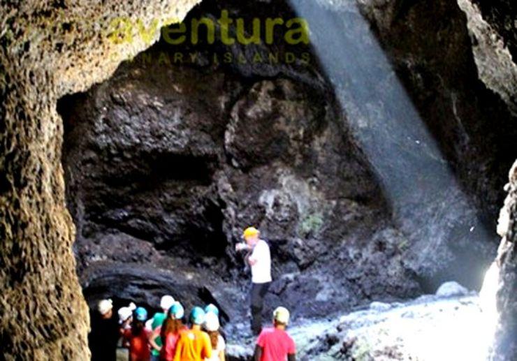 Exploring caves in La Palma