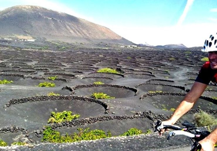 See Lanzarote volcanic landscapes while on road bike tour