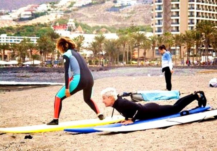 Surf practise in progress El Medano
