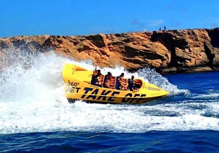 Sunset Jet boat 360° adventure in Ibiza coast