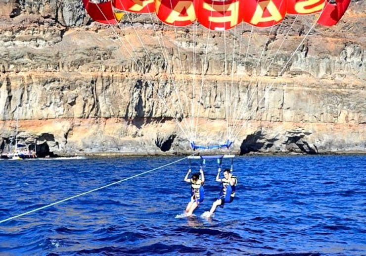 Parasailing over water in Gran Canaria
