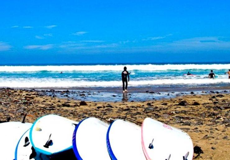 Surf course in Lanzarote island