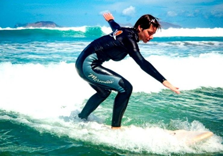 Surfing the waves in Lanzarote