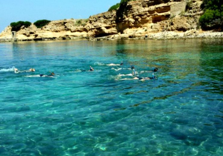 Swimming in crystal clear water of Mallorca