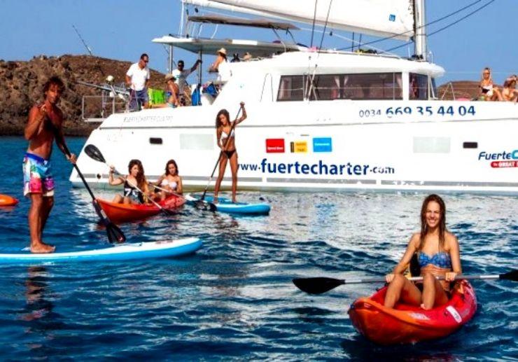 Enjoy water activities while sailing catamaran