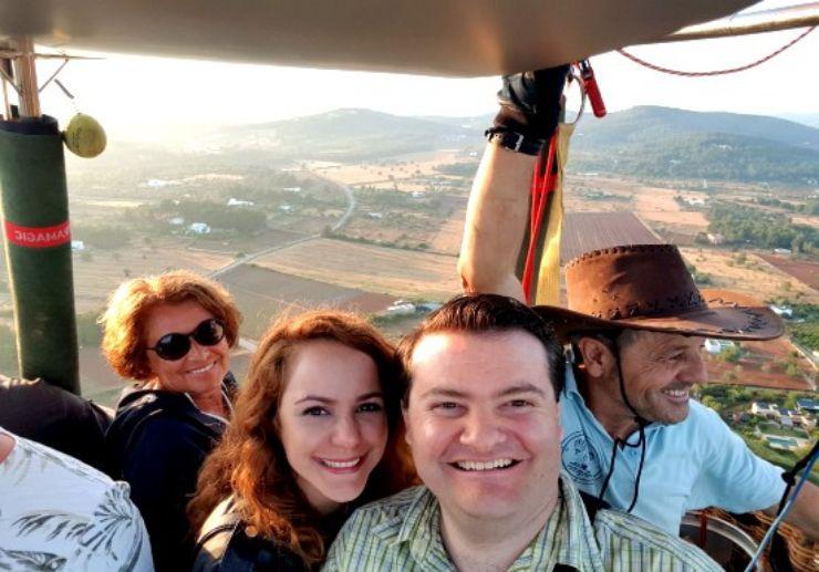 Happy faces on hot air balloon Ibiza