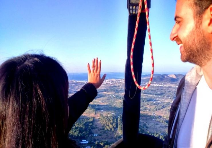 Marriage proposal on hot air balloon Ibiza