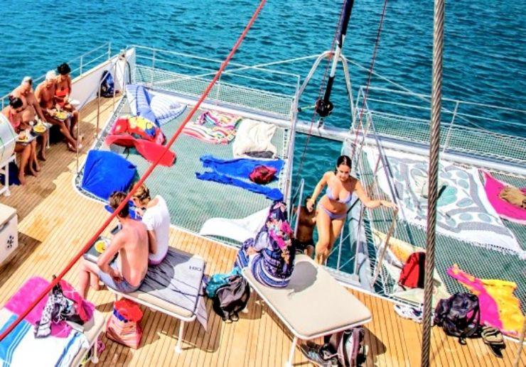 Relaxing on I love Graciosa catamaran