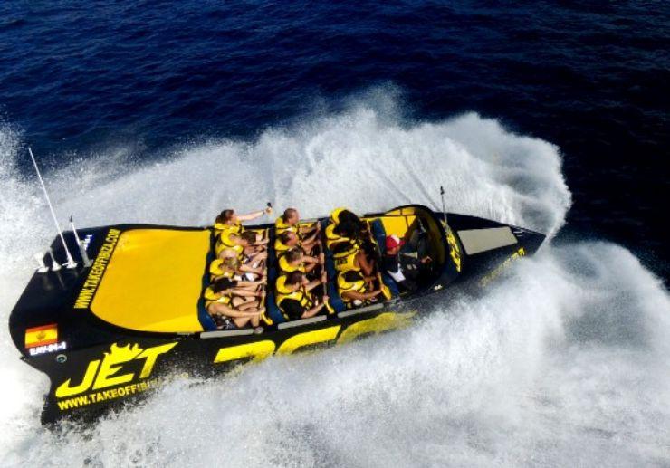 Jet boat experience Ibiza sunset