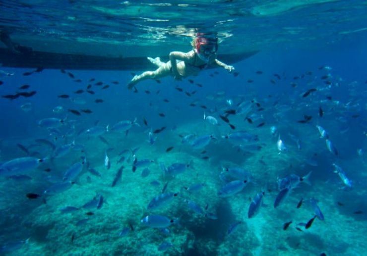 Snorkelling in crystal clear water of Mallorca