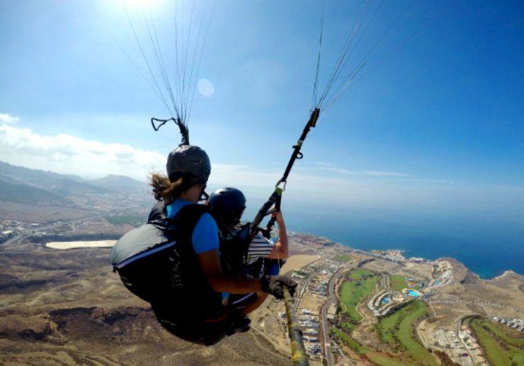 Paragliding tenerife landscape and sea