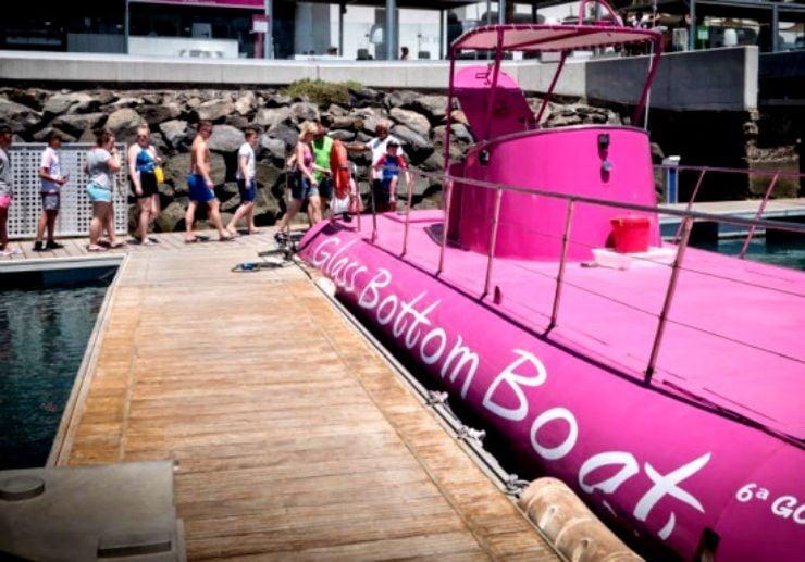Boarding glass bottom boat Caleta de Fuste