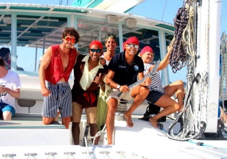 Entertaining pirate sailing crew