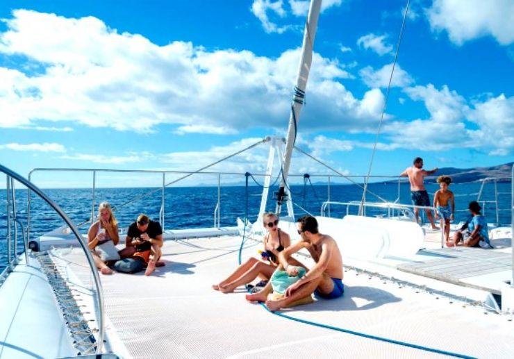 Chilling on Catamaran deck