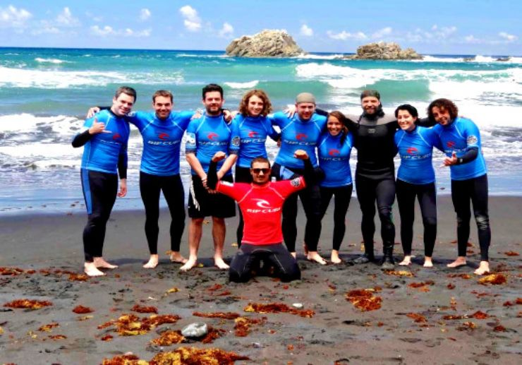 Surf instructor and his group Tenerife
