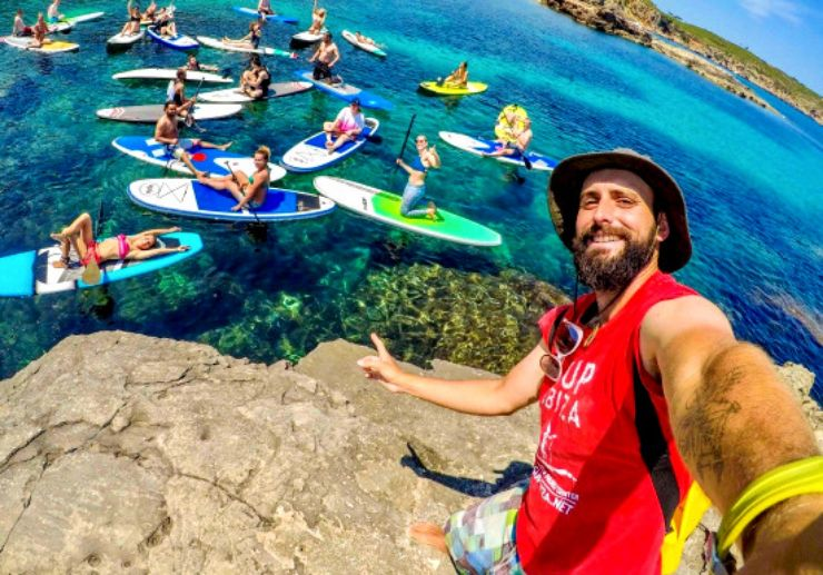Have fun selfie while paddle surfing in Ibiza